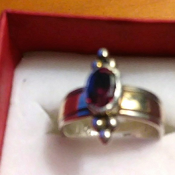 Garnet Ring set in Silver with 14k gold inlay